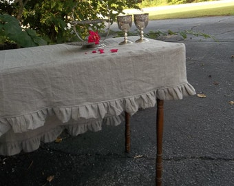 Linen Fitted Tablecloth Custom Slipcover Ruffled Tablecloth Linen Table Cloth French Country Wedding Decorations Table Decor