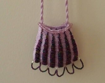 Bead Knitted Amulet Bag Pendant