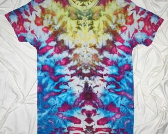 tie dye shirt, small inkblot ice dye, tie dye by grateful dan dyes, tie dye t shirt, funky inkblot design, psychedelic grateful dead tie dye