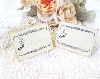 Masquerade Mask Place cards Parchment Escort Buffet Food Tents - Blank - Set of 8 - Bridal Tea Baby Shower Alice Wedding Teapot Teacup