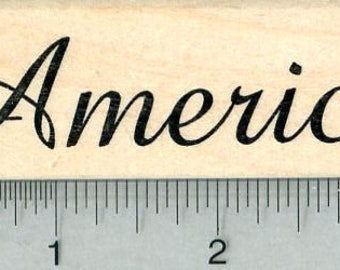 America Rubber Stamp, Script H32012 Wood Mounted