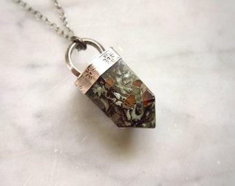 False Quartz Terrarium Necklace with Lichen in Sterling ||| Real Flora False Crystal Point