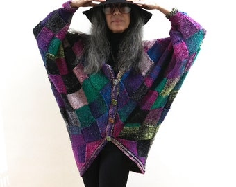 Hip Length Cocoon Jacket Hand Knit One of a Kind Patchwork with Czech Glass Buttons