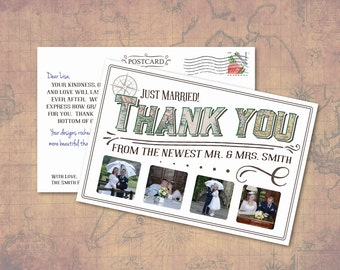 PRINTED Vintage Travel Themed Wedding Thank You Note Cards with photos, pre-printed message, and room to personalize
