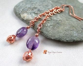 Amethyst February Birthstone Earrings, Purple Stone Earrings, Long Dangle Shoulder Dusters Gemstone Drops Copper Chain Earrings Gift for Her