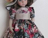 "For Effner Little Darling Doll, ""Afternoon Tea"" - Includes Dress, Vintage Hankie Pinafore, Cummerbund and Floppy Hat"