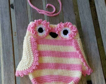 Crochet Owl Cocoon with matching Headband, Owl Blanket, Bird Sleeping Bag, Photo Prop, made to order