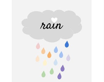 Printable Wall Art, rain printable art, Home art, Home decor, gallery wall, home poster, apartment decor, digital download