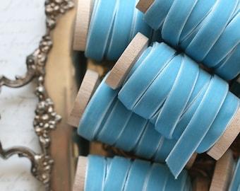 """Blue Velvet Ribbon, Blue Ribbon, 3/8"""" Velvet Ribbon, Velvet Ribbon Spool, 3 yards, Bright Blue, Blue Wedding"""