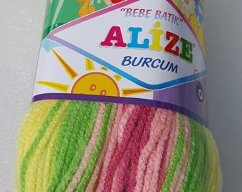 Alize bebe Batik Burcum yarn - multicolor Selfstriping of yellow, green pink shades - 1 ball of 100gr