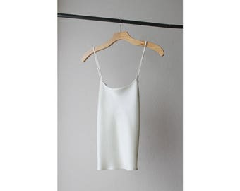 1980s Ivory Satin Criss Cross Straps Camisole Top