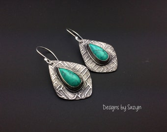 Tibetan turquoise and silver freeform earrings
