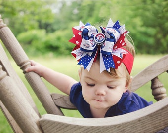 Texas Rangers Baby Headband,Texas Rangers Hairbow,MLB Baby Headband,Newborn Headband,Infant Headband,Blue and Red Bows,Baseball Hair Bows