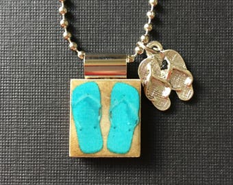 Handmade Flip Flop Jewelry, recycled scrabble tile jewelry, flip flop pendant, flip flop charm, summer jewelry, aqua flip flops, ball chain