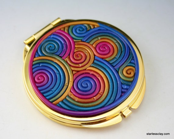 Dark Rainbow Compact Mirror in Polymer Clay Filigree