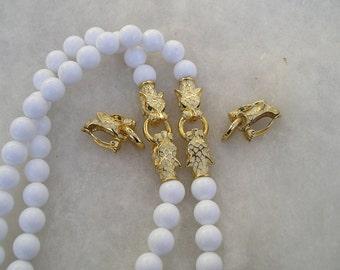 Vintage Cougar Panther Leopard Rhinestone Beaded Necklace Earrings Door Knocker Set