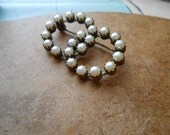 intersecting pearl circle brooch prong set pearls- vintage antique costume jewelry