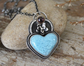 Heart Necklace. Larimar Garnet Flower Necklace. Feminine One of a Kind Sterling Silver Pendant Necklace. Light Blue Red Floral Jewelry.