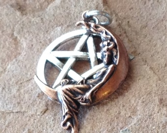 Lady on the Moon Pentagram Pendant, Copper Stamping and Sterling Silver Ear Wires Beautiful Ritual Wear for Witches and Priestesses