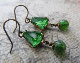 Emerald Green Drop Earrings with Vintage Rhinestones and Antique Brass
