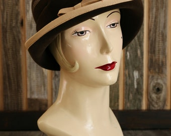 SALE- 1960s Wool Cloche Bucket Hat