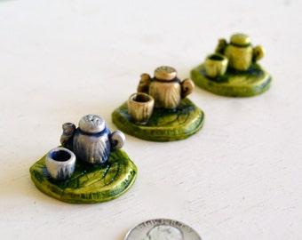 Fairy garden teapot, teaset: cast marble stone