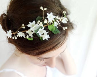 ivy flower crown, ivory flower crown, green flower crown, green crown, ivy hair accessories, ivy wedding, rustic floral crown, simplicity