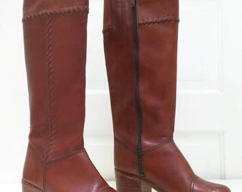Vintage Brown Tall Boots 6.5 Womens