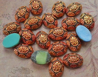 Vintage Glass Cabochons - 13x18 Metallic Bronze and Copper Geometric Deco Design - West German Glass Cabs (4 pc)