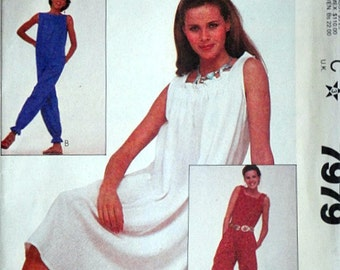Vintage 80's McCall's 7979 Sewing Pattern, Misses' Dress And Jumpsuit, Size Small 10-12, Bust 32.5-34, Uncut FF, 80's Summer Fashion