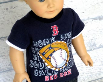 American Boy Doll Baseball Shirt, 18 inch Doll Clothes Short Sleeve Tee