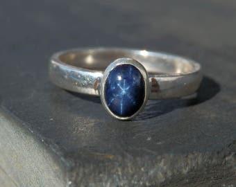 Star sapphire ring / blue sapphire ring / September birthstone / six ray star ring / star sapphire jewelry / sapphire jewelry / size 8 ring