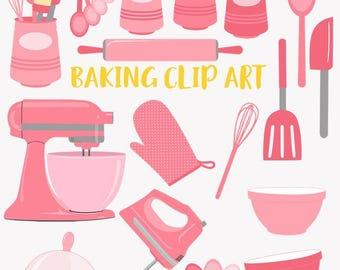 Baking clip art set, baker, kitchen baking utensils, mixer clipart (LC25)