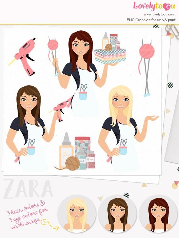 Crafts Woman Character Clipart Crafter Girl Maker Crafting Supplies Clip Art Knitting Glue Gun Blonde Brunette Auburn Zara L155