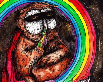 """Owl Art- Rainbow Painting - Inktober Illustration - Halloween CANDY - """"CandyLand Coma"""" by Far Out Arts"""