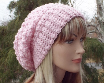 Candy Pink Crochet Hat, Womens Slouchy Beanie, Slouchy Hat, Oversized Slouch Beanie, Chunky Hat, Winter Hat, Slouch Hat