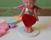 Vintage Style Valentine Doll - Composition Cupid with Red Wings and Pink Arrows, Standing