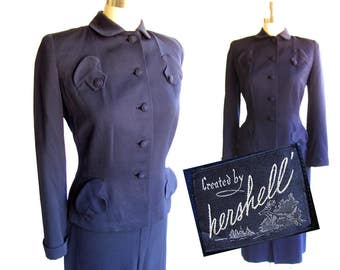 Vintage 1950s Suit, New Look Silhouette / Navy Blue Wool / Hourglass, Pin Up, Bombshell, Rockabilly Wiggle Suit / Small