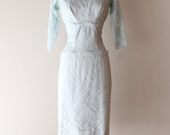 Vintage 1950's Emma Domb Lace Cocktail Dress ~ Vintage 50s Powder Blue Lace Party Dress Waist 28