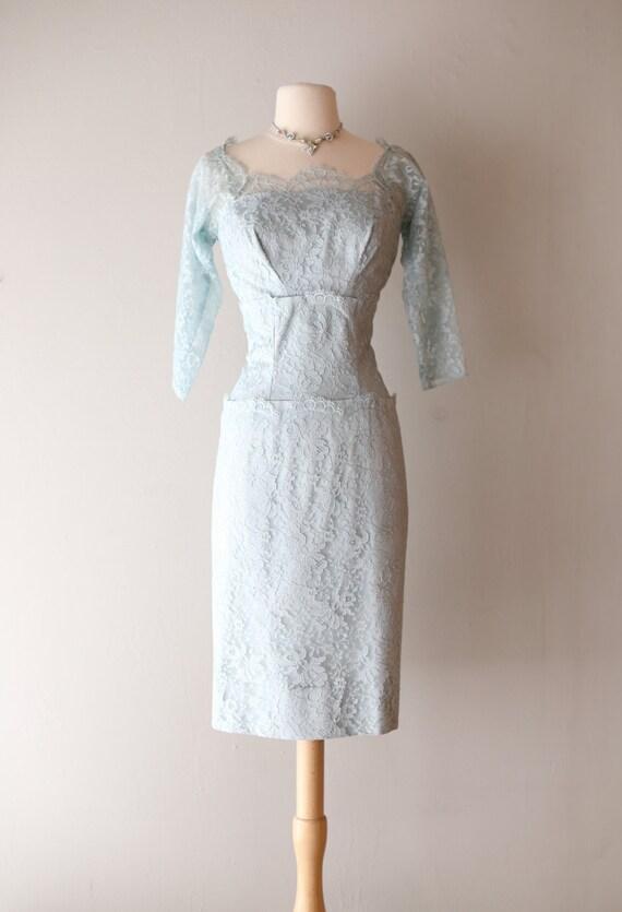 Vintage 1950's Emma Domb Lace Cocktail Dress ~ Vintage 50s Powder Blue Lace Party Dress Waist 28