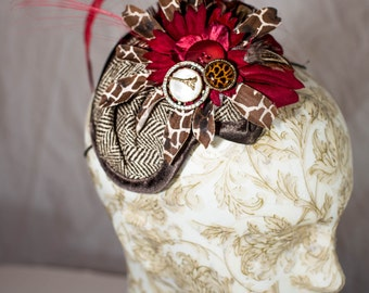 Cute Steampunk Brown Tweed and Red Fascinator.