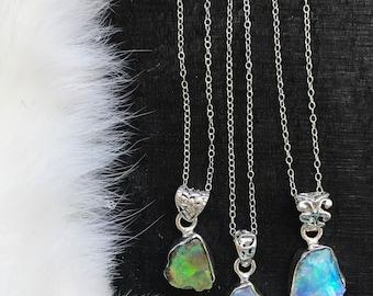 Raw Opal necklace   Chunky opal necklace   Opal crystal necklace   Fire opal necklace   Opal in silver pendant