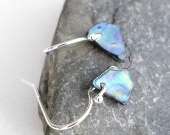 Itsy Bitsy Green Shell Earrings, Tiny Paua Abalone Jewelry