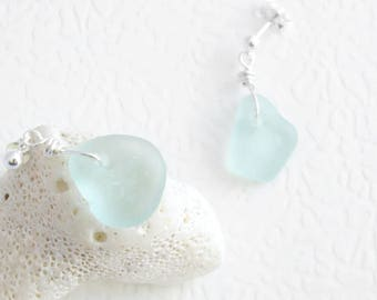 Aqua Sea Glass Earrings, Pastel Blue Eco Friendly Jewelry, Dangle Post Earrings