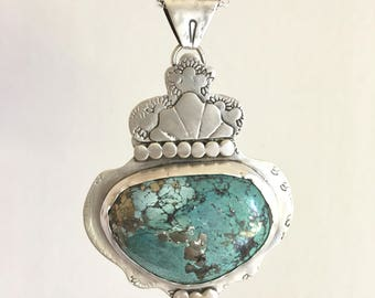 Royal Turquoise with Pyrite Sterling Silver Necklace