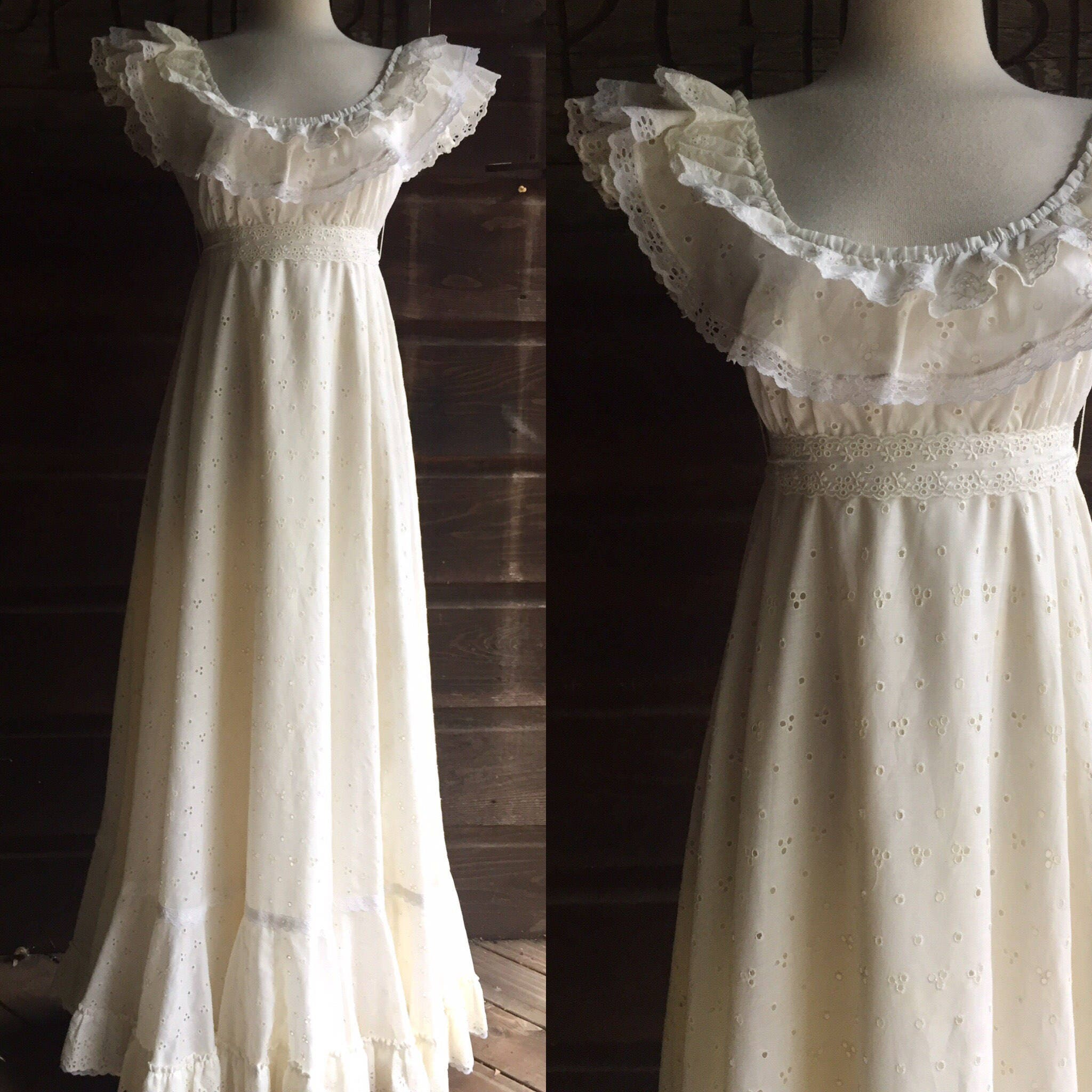 s eyelet boho wedding dress 70s peasant style wedding dress s Eyelet Boho Wedding Dress 70s Bohemian Peasant Dress Eyelet Hippie Wedding Maxi Dress by Haizfeld s