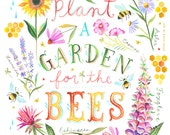 For the Bees Art Print | Insect Painting | Nature Wall Art | Katie Daisy | 8x10 | 11x14