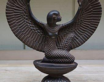 Bronze Statue Sculpture Eygptian Goddess Isis Open Wings