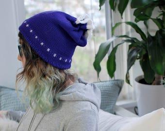 Purple Knit Gathered Top Cross Pattern Hat