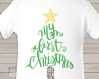 My First Christmas curly tree bodysuit or Tshirt - perfect for baby's 1st Christmas MFCCT